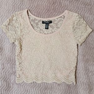 Dusty Antique Pink Lace Short Sleeve Crop Top
